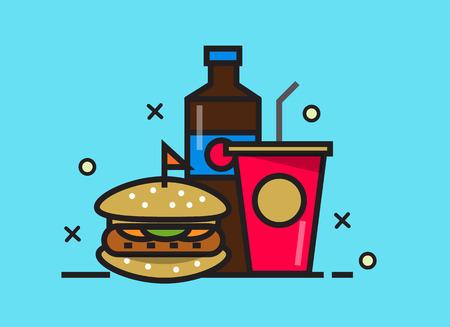 fast meal: Burger and cola drink. fast food meal. flat line design elements. Illustration