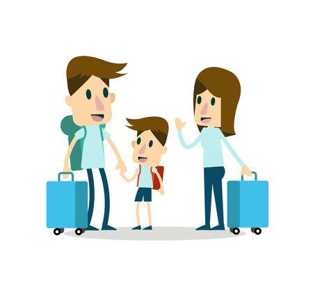character design: family on vacation. flat character design. Illustration