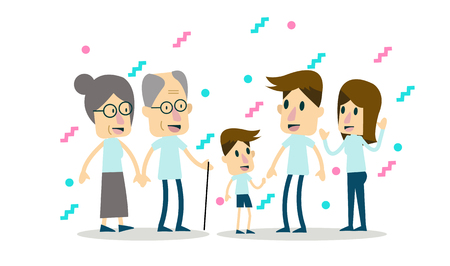 gran familia juntos. diseño de personajes plana.