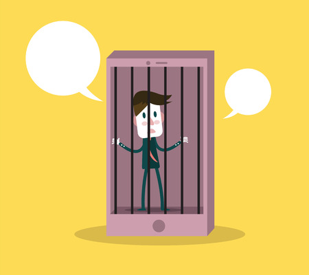 sad men: Man has been detained in phone prison. Phone addiction concept. flat design elements.