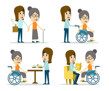 Set of volunteer for elderly care. flat character design. Vectores