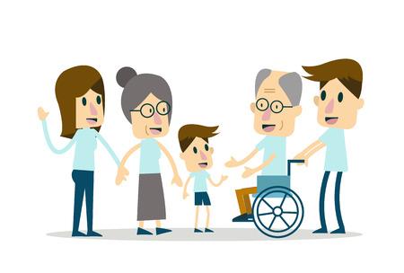 happy seniors: Happy Family and elderly care. flat character design. Illustration