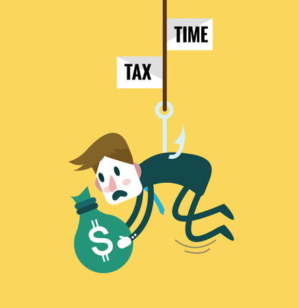 abandon: Tied Business Man with tax fishing hook. Tax abandon concept. flat design elements Illustration