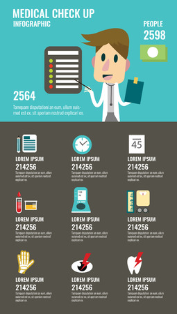 work checkup: Medical check up with man doctor characters and icons set. flat infographic design.   illustration