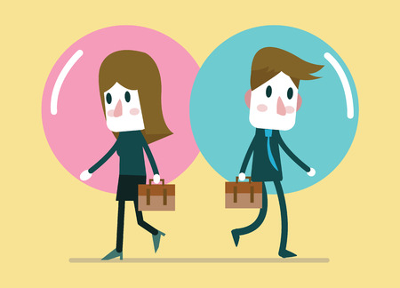 business relationship: Business people in comfort zone balloon. Egoism, relationship and Comfort zone concept. flat character design.  illustration