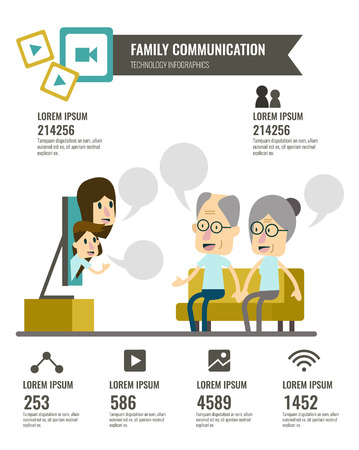 video call: Family with social media communications infographic. senior couple make video call with computer monitor. flat character design.  illustration Illustration