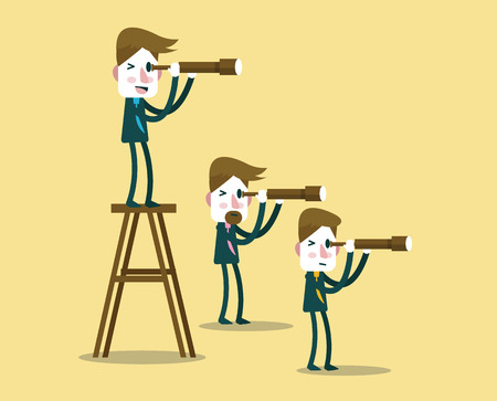 Business people with telescope in different perspective. leadership vision concept. flat character design.  illustration