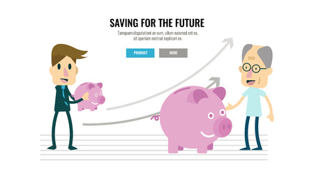 planning: businessman and growing piggybank with timeline. retirement savings concept. flat character design.  illustration