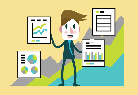 substitute: Businessman presentation with statistics financial profit documents. flat character design.  illustration