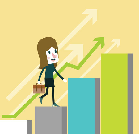 woman walk: Business woman walk on growing graph. flat character design. vector illustration