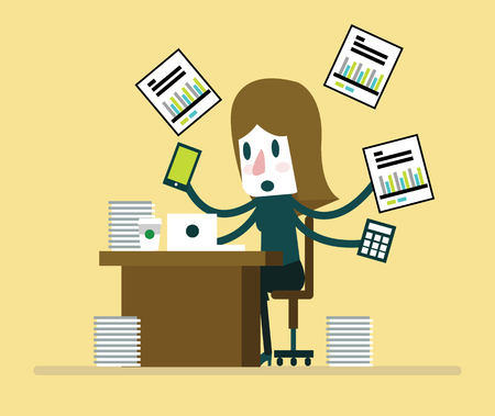 Busy businesswoman working with paperwork on her desk at office. flat character design. vector illustration