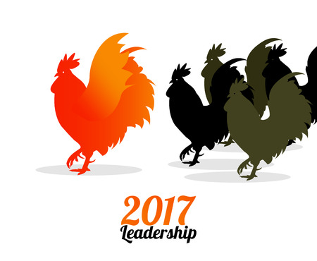 outsider: Group of Rooster. 2017 leadership concept .Vector illustration Illustration