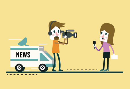 newscast: Journalist News Reporter Interview, with journalist and interviewer.  flat character design.Vector illustration cartoon.