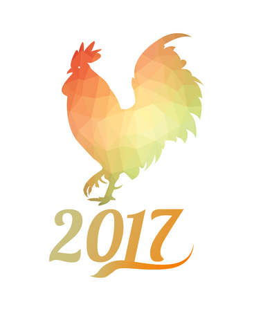 Geometric rooster. Chinese new year 2017 .Vector illustration Illustration