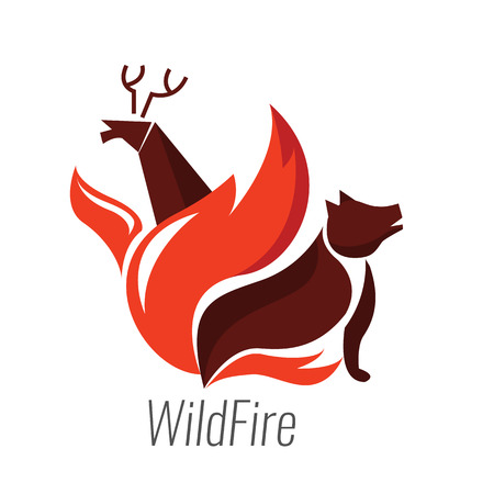 conflagration: The danger of wildfire. Wild animals with fire. Flat design logo and icons. vector illustration