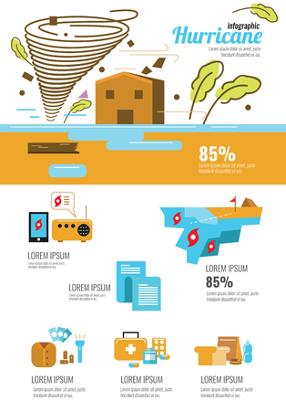 hurricane disaster: Wind infographic. Tornado and hurricane set with natural disaster symbols. flat icons design elements. vector illustration