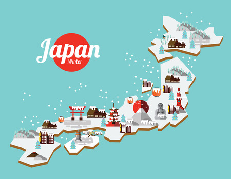 Japan Winter landmark and travel map. Flat design elements and icons. vector illustration