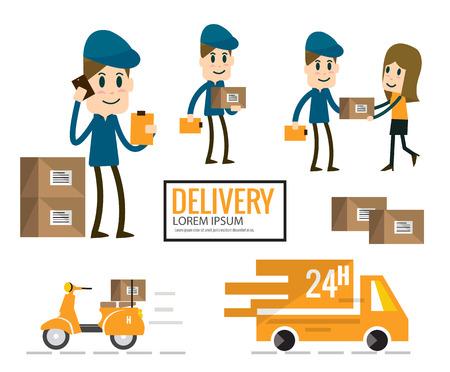 Delivery man in blue uniform post.cargo transportation. flat design Vector illustration Illustration