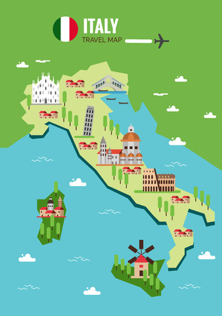 Italy travel map, Italian Colosseum, Milan, Venice. Sicilia and Sardinia islands. Explore Italy concept image. flat design elements. vector illustration Illustration