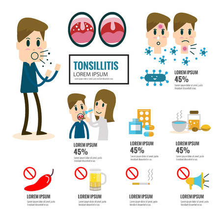 Tonsillitis infographic element.  health care concept. flat vector cartoon design illustration.