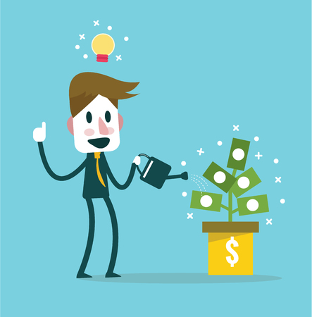 passive income: Businessman watering money plant vector. income idea and concept. flat design elements. vector illustration