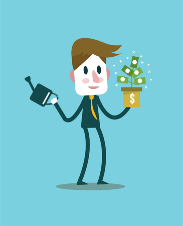 passive income: Businessman with money plant. income idea and concept. flat design elements. vector illustration