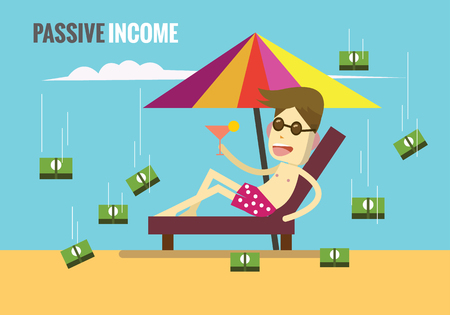Man on the beach while the money are rolling down from the clouds. Passive income concept. flat design elements. vector illustration