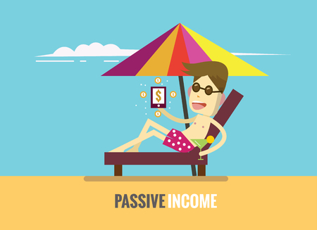 passive income: Man on the beach and income money showing in smartphone . Passive income concept. flat design elements. vector illustration Illustration
