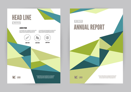blue book: Green and Blue annual report Leaflet Brochure Flyer template A4 size design, book cover layout design, Abstract presentation templates. flat geometric vector