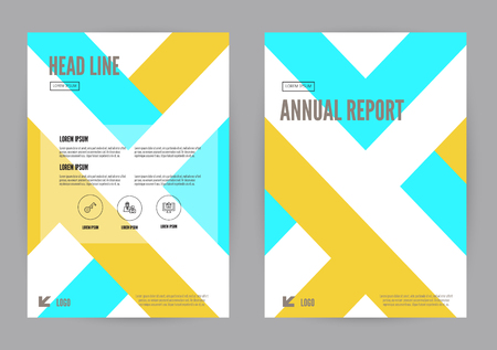 blue book: Yellow and Blue annual report Leaflet Brochure Flyer template A4 size design, book cover layout design, Abstract presentation templates. vector Illustration