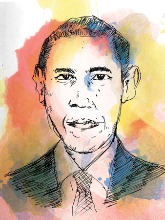 barrack: Barack Obama portrait drawing. water colour style. Editorial