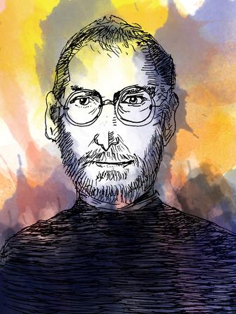 Steve jobs portrettekening. Water kleurstijl.