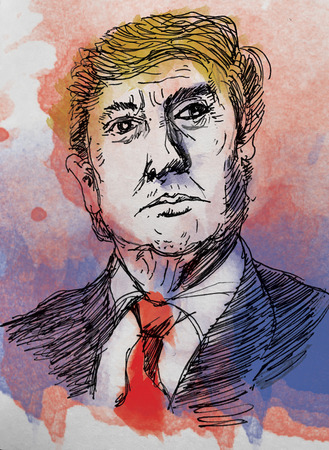 Donald Trump portrait drawing. water colour style.