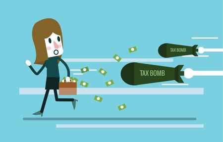 dinamita: Mujer de negocios que sostiene el caso del dinero y huye de la bomba del impuesto. Elementos de diseño planos. Ilustración vectorial Vectores
