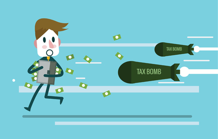 Businessman holding money case and run away from Tax bomb. flat design elements. vector illustration