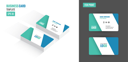 clean up: Modern creative and clean business card. Flat design template and mock up. vector illustration