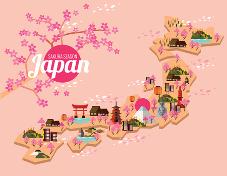 hokkaido: Japan travel map.  Sakura Season in Japanese. flat design elements. vector illustration Illustration