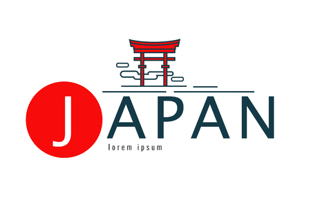 Japan logo. Scene of tori gate. japan famous Landmark. flat line design element. vector illustration