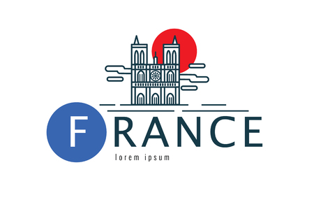 iconic architecture: France logo. scene of the Notre Dame. flat thin line design element. vector illustration Illustration