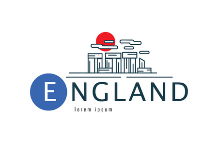 England logo. Stonehenge of Wiltshire of the Great Britain scene. flat thin line design element. Illustration