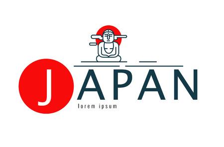 buddha image: Japan logo. Scene of The Great Buddha Daibutsu. japan famous Landmark. flat line design element. vector illustration