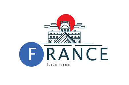 iconic architecture: France logo. scene of the museum. flat thin line design element. vector illustration