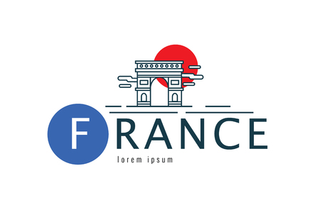 France logo. scene of the Arch of Triumph. flat thin line design element. vector illustration