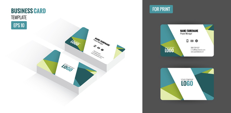 clean up: Modern creative and clean business card. Flat design template and mock up. vector illustration.