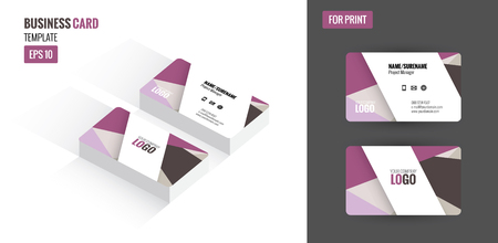 clean up: Modern creative and clean business card. Flat design template and mock up. Illustration