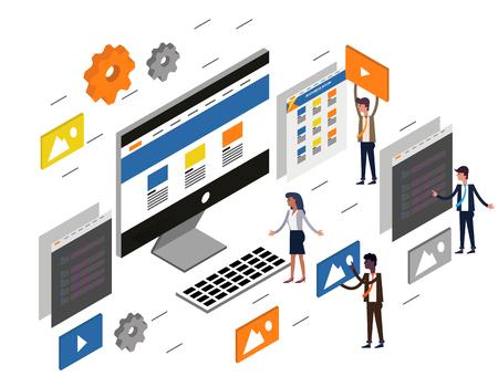 computer desktop UIUX web design and development concept. Flat 3d isometric Vector illustration. Illustration