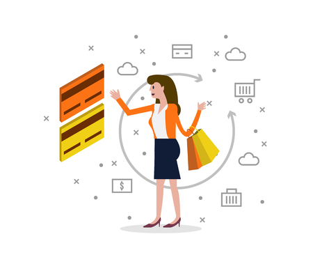 shoping bag: Credit card and online shopping concept. Flat  isometric and flat icons Vector illustration. Illustration