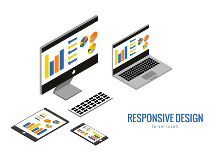 computer equipment: Responsive web design, computer equipment, application development and page construction. Isometric 3d flat vector illustration. Illustration