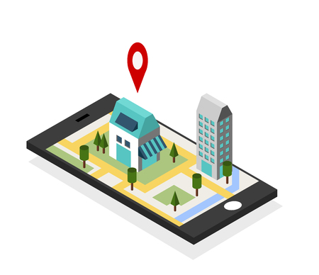 smart: GPS navigation maps on mobile phone concept. Flat 3d isometric Vector illustration.