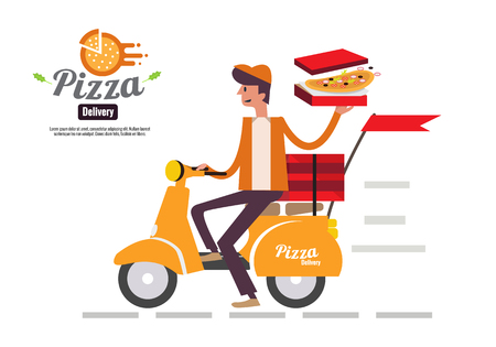 Pizza delivery boy riding motor bike isolated on white background. food delivery concept flat design vector illustration. eps10 Stock Illustratie